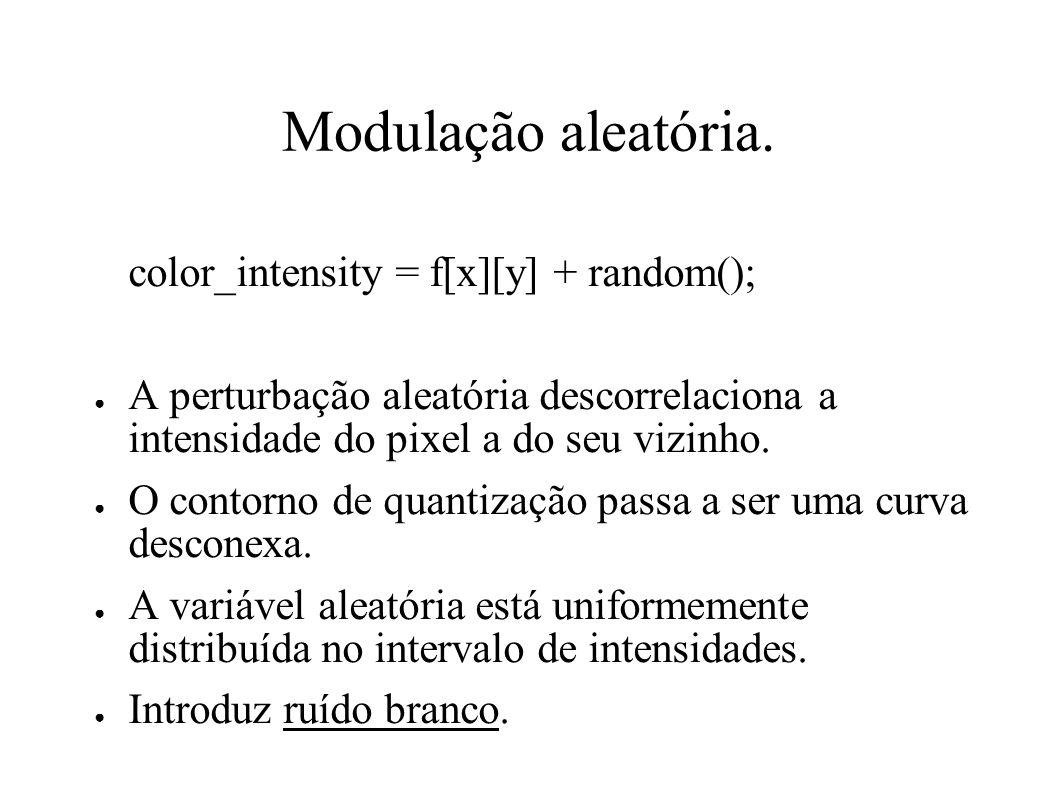 Modulação aleatória. color_intensity = f[x][y] + random();